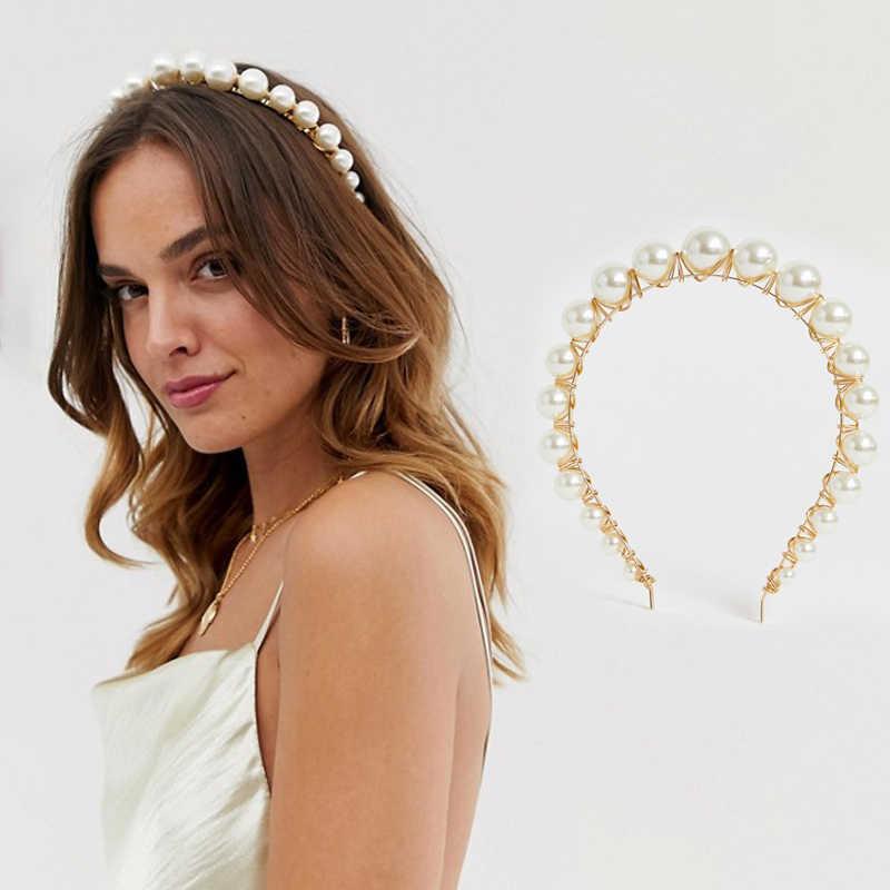 Big Pearl Headband Hairband Hoop Bride Bridesmaid Women Wedding Hair Accessories