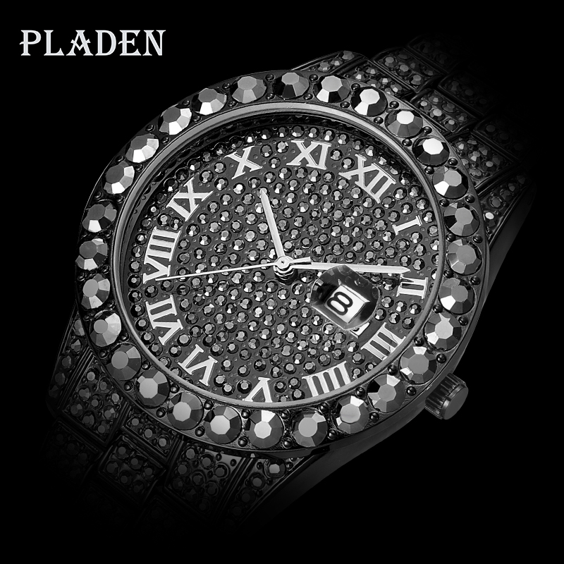 Blind Drop Shipping Supplier PLADEN Blacked Out Watch Diamond Branded Rolexable_watch Men Daytona Luuxry Stylish Watches For Men
