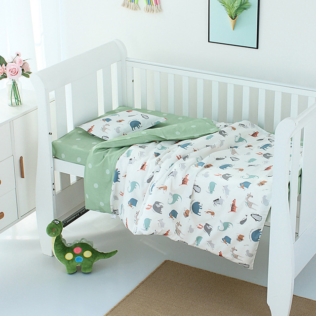 3Pcs Set Baby Bedding Bed Linen Quilt Cover Pillowcase Cotton Cartoon Print All Seasons Size Can Be Customized Crib Bedding Set