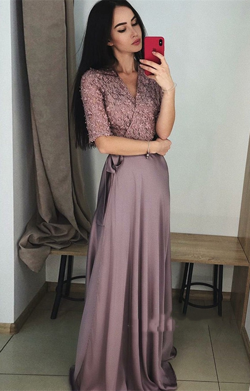 H Elegant Evening Dress Soft Satin V Neck Half Sleeve Lace Appliques A Line Prom Party Gowns On Sale Real Picture Robe De Soiree