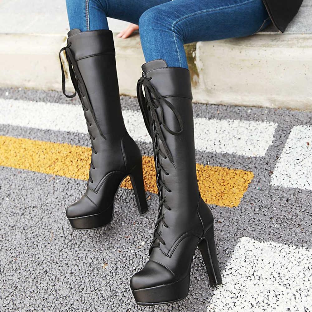 Karinluna ขนาดใหญ่ขนาด 45 สีดำ 2020 ขายส่งรองเท้าผู้หญิงผู้หญิง Elegant SPIKE ส้นสูงแพลตฟอร์ม Shoelaces เข่ารองเท้าบูทสูง