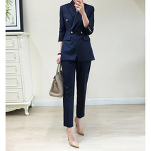 Classic Double-breasted Slim Professional Suit 2019 Turn-down Collar Double Breasted 2 Piece Set Women