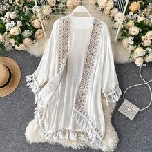 Kimono Long style bohème pour femmes, broderie géométrique, ethnique, Cardigan ample, chemise, vacances, protection solaire, couverture extérieure de plage