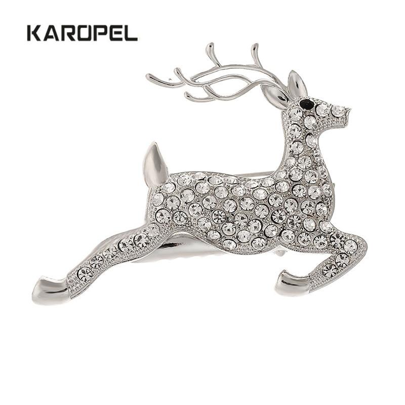 Karopel Christmas gift sika deer brooch diamond dual-purpose
