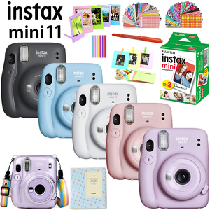 Fujifilm Instax Mini 11 Instant Camera Pink/Blue/Gray/White/Purple + 20 White Film + Crystal Case Bag + Album + Accessories Set
