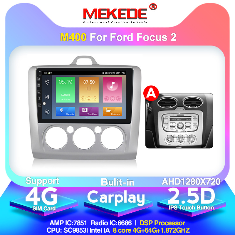 Android 10.0 1024x600 4G+64G DSP Car Radio Multimedia Video Player For Ford Focus Exi AT 2004-2011  Navigation GPS 2 Din No Dvd