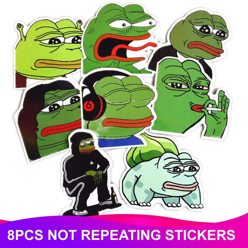 8pcs/Pack Funny Animal Pepe Frog Stickers Laptop Suitcase Freezer Motorcycle Car Styling Phone DIY Decoration Decals Sticker