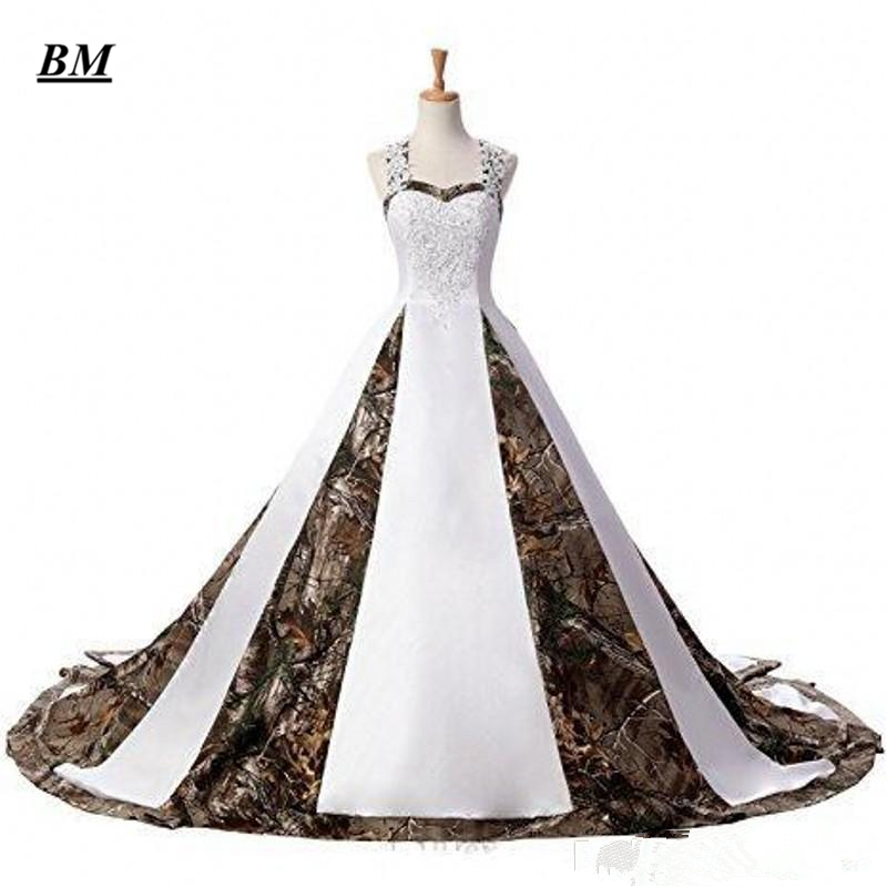 2019 New Camo Wedding Dresses With Appliques Long Camouflage Wedding Party Dress Plus Size Bridal Gowns BM115