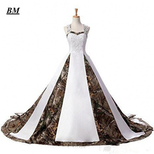 2019 New Camo Wedding Dresses With Appliques Long Camouflage Party Dress Plus Size Bridal Gowns BM115