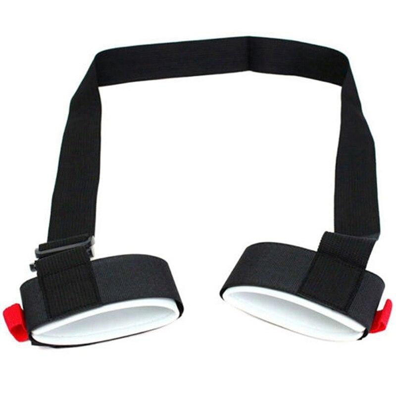 Adjustable Skiing Strap Pole Shoulder Hand Carrier Lash Handle Straps Porter Hook Loop Protecting Black Nylon Ski Handle Strap B