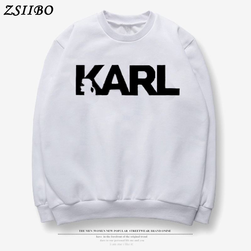 New Harajuku KARL LettersPrinted Casual Hooded Streetwear Hoodies Pullover Women Autumn Thick Loose Sweatshirt Black Pilot Hoody