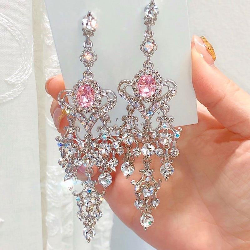 MENGJIQIAO New Vintage Luxury Red Heart Crystal Dangle Earrings For Women Elegant Rhinestone Tassel Party Jewelry