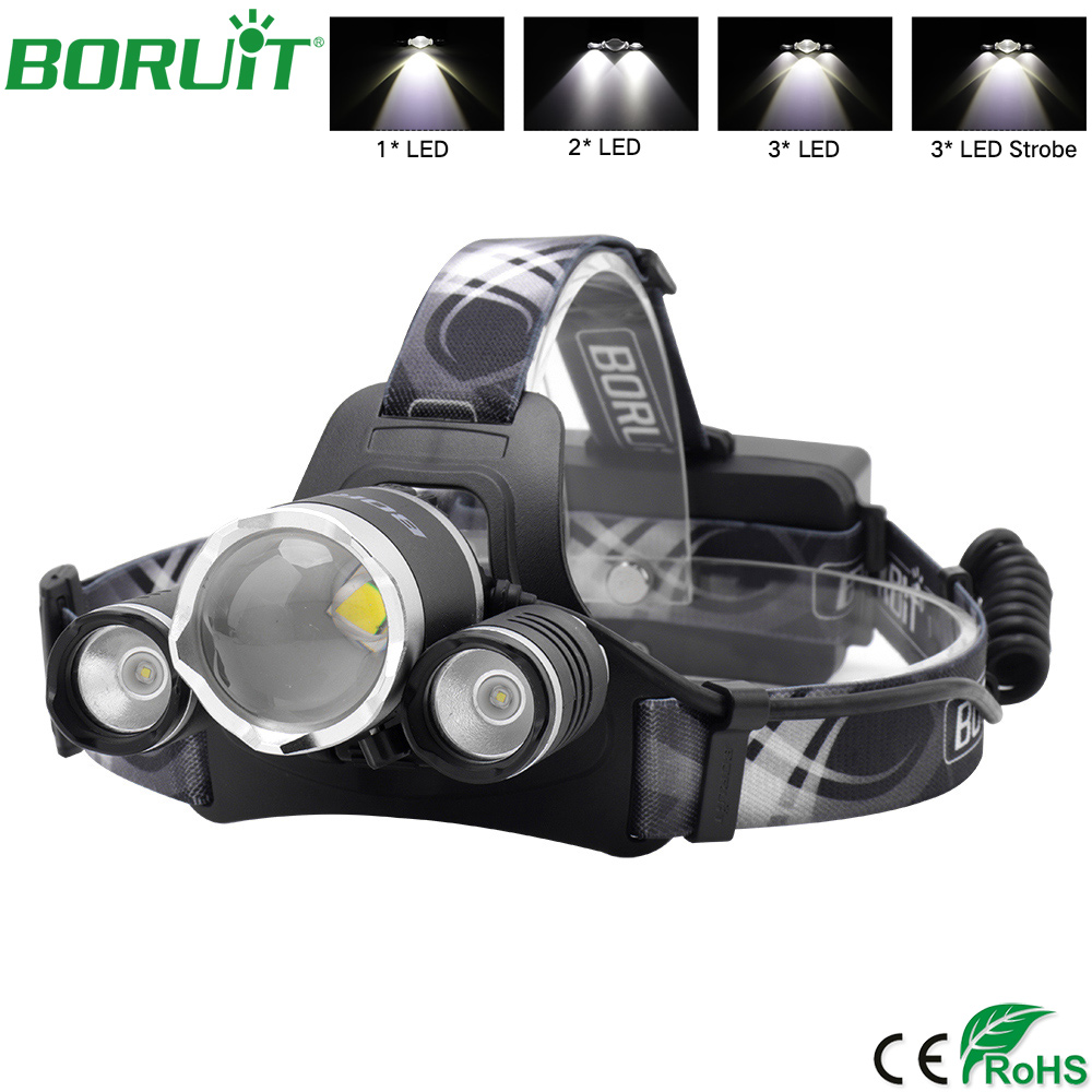 LED Headlamp Flashlight Zoomable Head Band Light Waterproof Hands Free Strap On