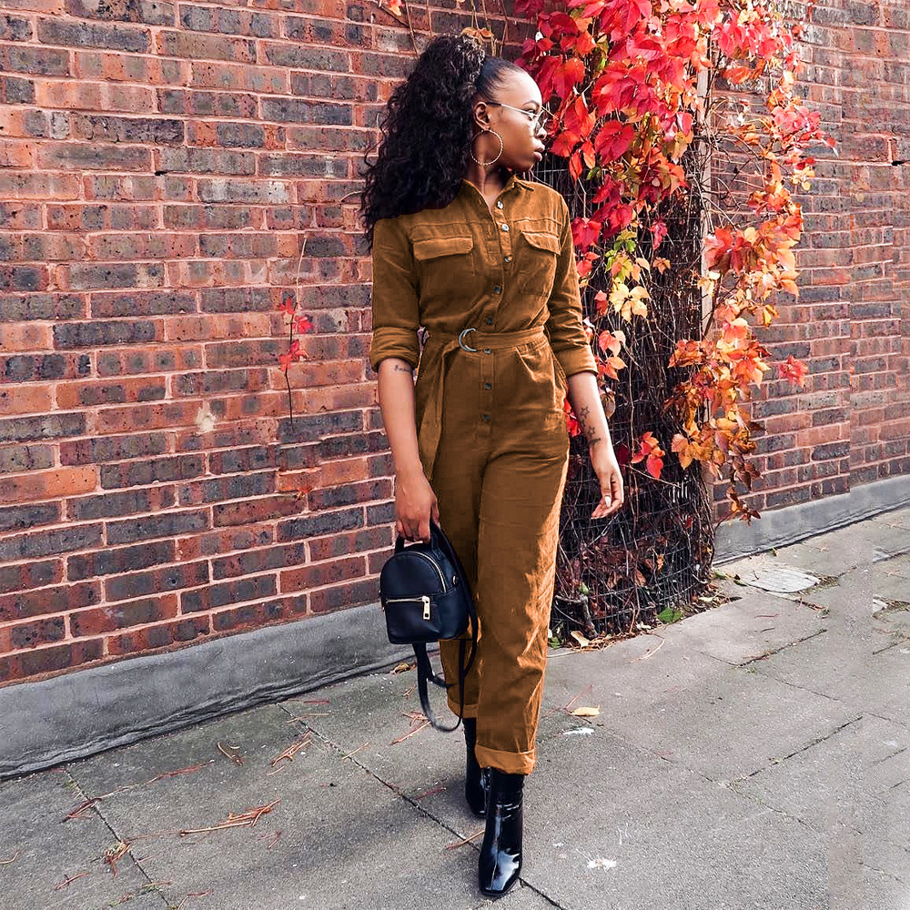 Fashion Corduroy Jumpsuit Women Romper Long Sleeve Belt Orange Khaki Winter Autumn Straight Jumpsuit Female Streetwear Overalls