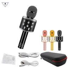 WS 858 מקצועי Bluetooth אלחוטי מיקרופון רמקול עם שקיות כף יד קריוקי קסם קול שיא מוסיקה Ws858 Micrphones