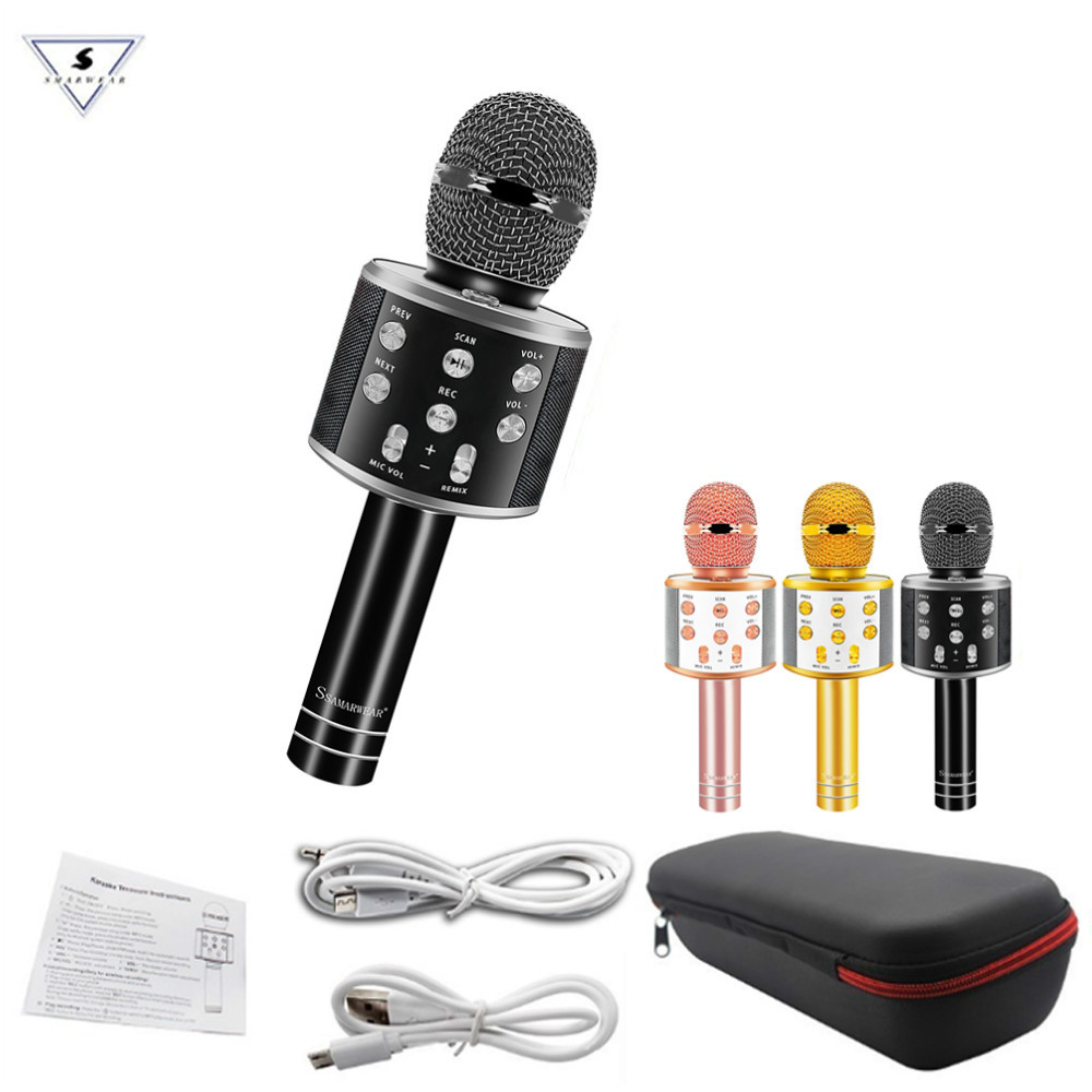 WS-858 Professional Bluetooth Wireless Microphone Speaker With Bags Handheld Karaoke Magic Voice Record Music Ws858 Micrphones