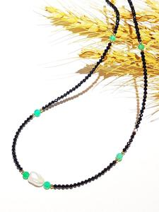 Image 3 - Black Spinels Baroque Pearl Onyx Beads Gold Filled Necklace Popular Bohemian Hawaii Clavicle Jewelry for Women Nice Gift 39 44cm