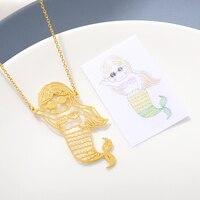 Индивидуальные детские Рисование ожерелье для женщин серебряная с золотом цепь из нержавеющей стали пользовательские фото ребенок искусс...