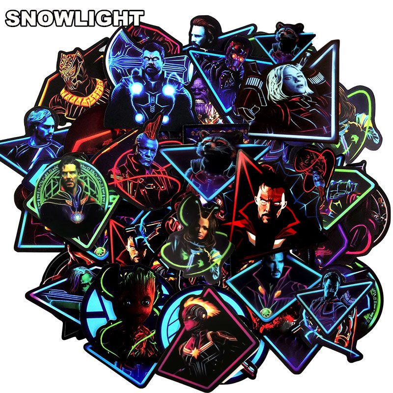 48Pcs Neon Marvel Stickers Cartoon Anime Sticker For Motorcycle Laptop Skateboard TOY DIY Stickers