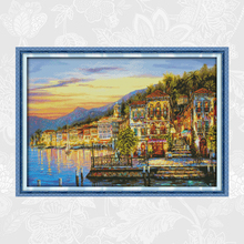 The Streetlights Came on Every Night Paintings Embroidery Counted Printed On Canvas 11CT 14CT Cross Stitch kits Home Decor