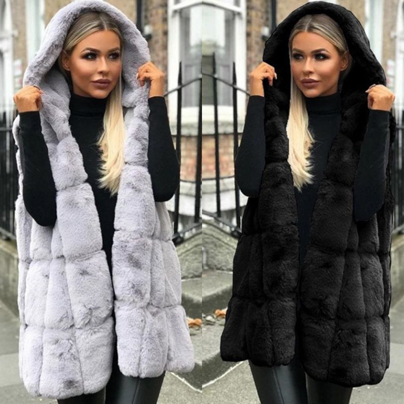 Women Winter Thicken Fluffy Plush Vest Open Front Hooded Mid-Length Waistcoat Oversized Loose Solid Color Jacket Outwear S-2XL gown