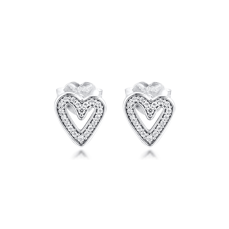 Sparkling Freehand Heart Stud Earrings Sterling Silver Jewelry Earrings For Woman Make Up Wedding Gift Fashion Pendientes