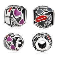 Beads 100% 925 Sterling Silver Glamour Love Mixed Enamel Charm for Jewelry Making Fit Charms Bracelets free shipping YK069