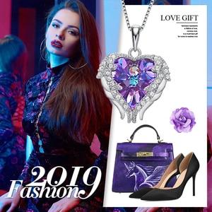 Image 5 - Cdyle collar con colgante de corazón y alas de Ángel para mujer, de Plata de Ley 925 con Cristal púrpura, para fiesta de cumpleaños