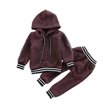 Kids Spring Autumn Fall Clothes 2019 New Casual Hooded Sweatshirt Pants Children Clothing Toddler High Quality Boys Girls Suits стоимость