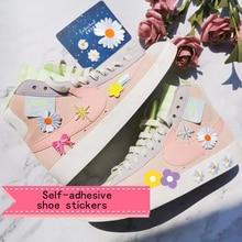 Милые девушки мультфильм обувь декоративная патч наклейки творческий DIY холст обувь спортивная обувь обувь обувь аксессуары наклейки