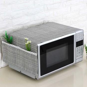 35*95cm kuchenka mikrofalowa osłona pyłoszczelna z kieszeniami tkaniny kuchenki mikrofalowe osłony ochraniające DIN889 tanie i dobre opinie Duszpasterska 145796 100 len