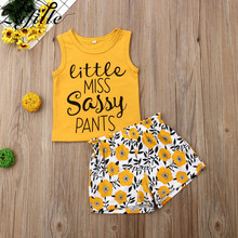 ZAFILLE Summer Girls Clothing Cotton 2Pcs Kids Clothes Letter Top+Print Shorts Outfits Baby Girl Clothes Sleeveless Toddler Sets zafille girls clothing 2pcs lace top leopard skirt baby girl clothes long sleeve toddler outfits sets kids clothes baby clothing