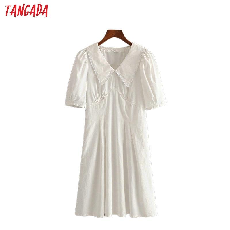 Tangada Fashion Women Solid Cotton Summer Dress White Short Sleeve Ladies School Style Midi Dress Vestidos 3H494