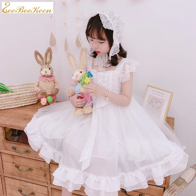 Girls White Princess Dress Summer Short-sleeved Lolita Dresses Sweet Lolita Dress Child Camisole Loli Halloween Cosplay Costume