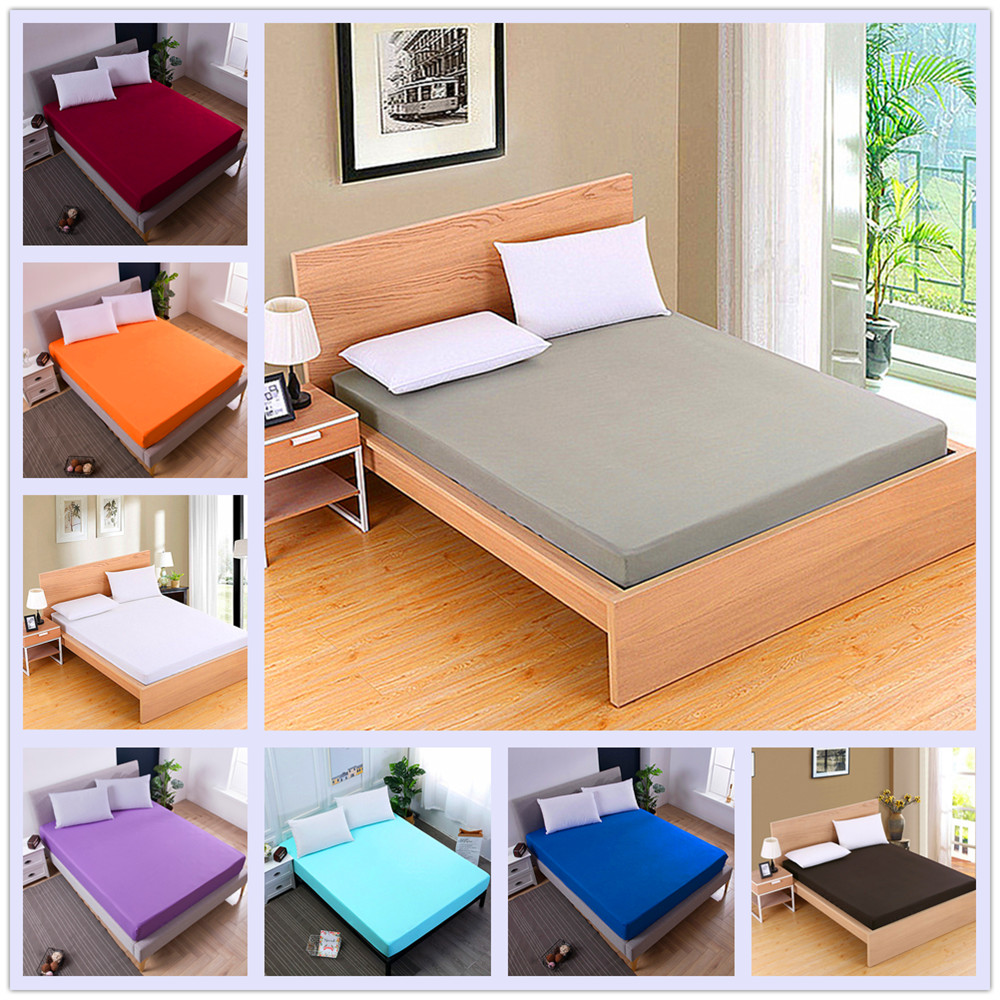 Mattress Cover Solid Mattress Protector with Elastic Band Sanding Breathable Bed Mattress Cover Anti-mite Washable(China)