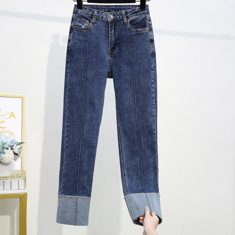 Jeans Woman Spring High Waist  Plus Size Jeans Softener Zipper Fly Mom Elastic Fashion  Ankle-length Straight Denim Blue Pants