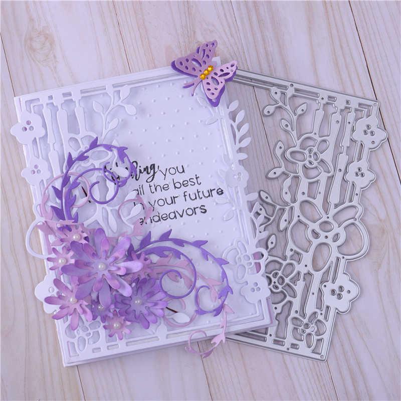 YaMinSanNiO ramka w kwiaty metalowe wykrojniki Scrapbooking szablony tłoczenie karty Album zrobić szablon Diy projektant tworzenia prezentów