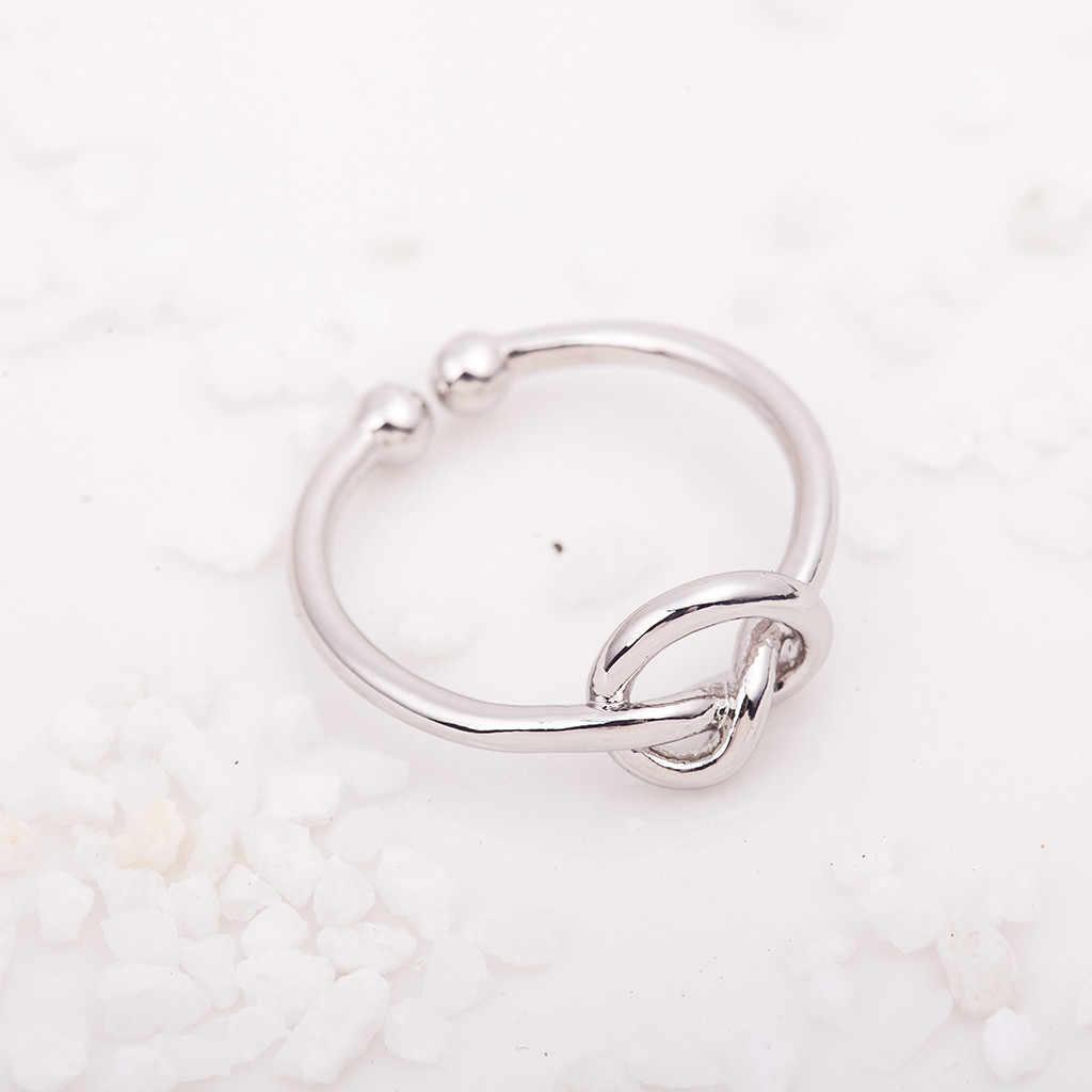 Mulheres Anéis Simples Nó Aberto Anel Ajustável para as mulheres Coração Atado UpNovelty Кольцо леди Bague anillo de dama #99 femme