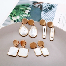 цена Free Shipping Square Teardrop Elegant Geometric Shell Clip Earring онлайн в 2017 году