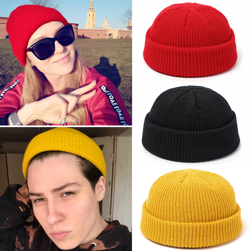 Knitted Hats Beanie-Hat Skullcap Fisherman Melon Docker Retro Winter Baggy Women Brimless