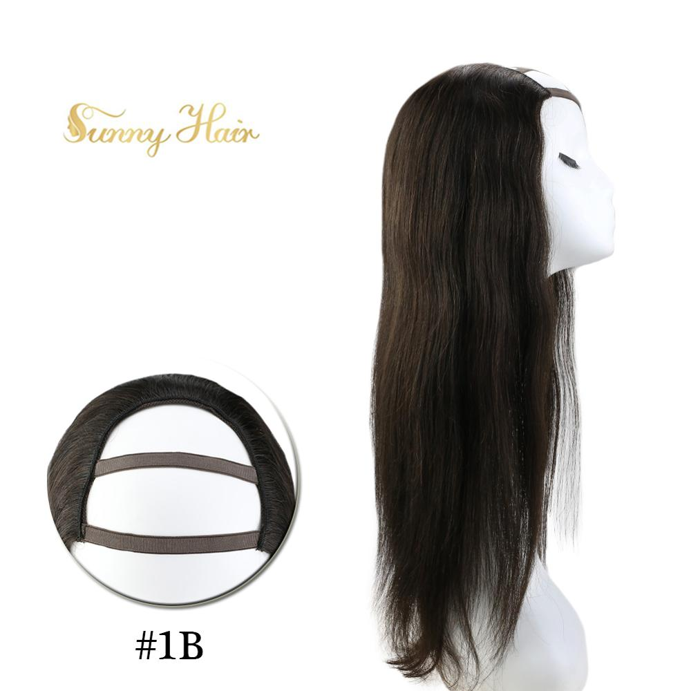 VeSunny One Piece U Part Half Wig 100% Real Human Hair With Clips On Natural Black #1b 12-24 Inch