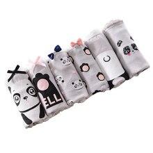 Трусики для подростков с принтом панды, трусы для молодых девушек, удобные хлопковые серые трусики, детское нижнее белье Y515