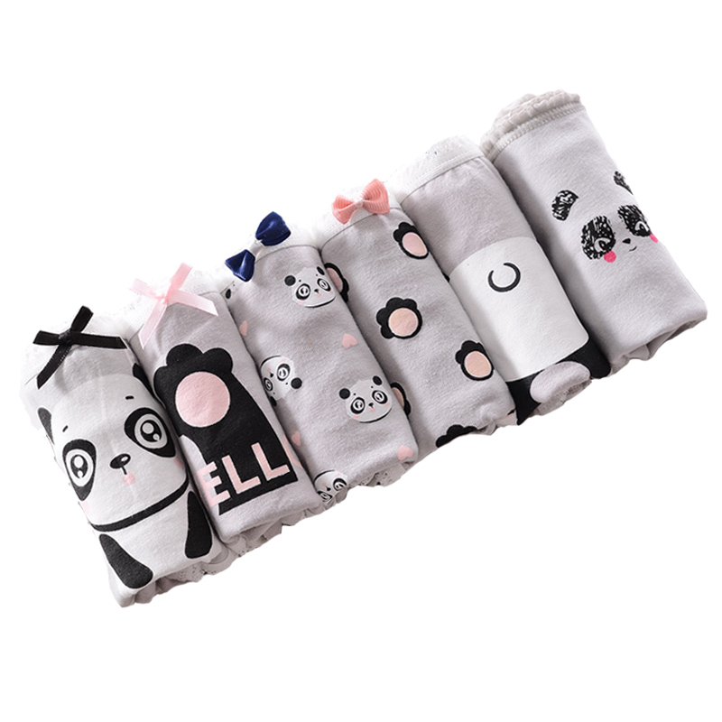2020 Teenage Panties Panda Printed Underpants Young Girl Briefs Comfortable Cotton Gray Panties Kids Underwear Y515
