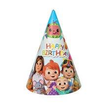 30 pçs/lote feliz aniversário festa cocomelon tema chapéus crianças meninos favores chuveiro do bebê tampões de papelão decoração eventos suprimentos