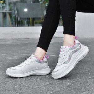 Image 3 - النساء أحذية رياضية أحذية رياضية جلدية الدانتيل متابعة مقاوم للماء حذاء مسطح في الهواء الطلق حذاء للجيم احذية الجري السيدات أحذية رياضية