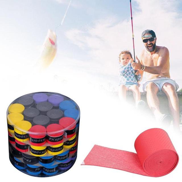 60pcs Sweat Bands Tennis Racket Handle Anti-slip Sweat Absorbing Belt Breathable Fishing Rod Accessories Sweatbands Twining Tape 4