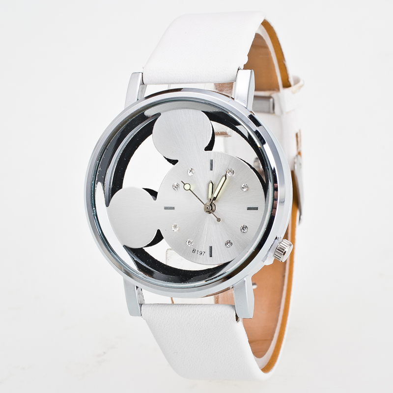 Relogio Feminino Luxo 2018 Ladies Watch With Crystals Clocks Women Luxury Quartz With Leather Mickey Mouse Kad N Saatleri