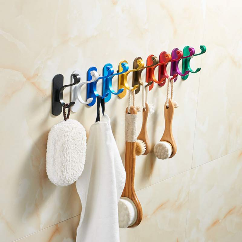 10 Colors Adhesive Aluminum Coat Towel Hooks Family Robe Hanging Hooks Hats Bag Hats Bag Key Wall Hanger Bathroom Kitchen Hook