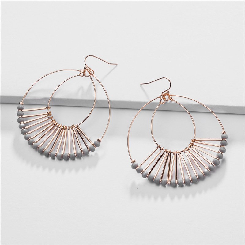 Layering Crystal Beads Water Drop Statement Earrings For Women