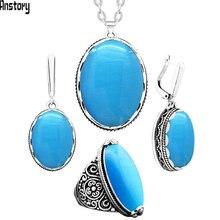 Родословная натуральный голубой опал комплект ювелирных изделий